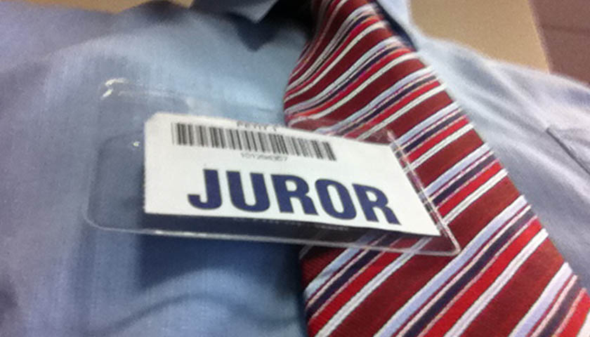 Juror tag on dress shirt