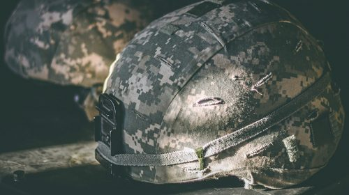 Close-up of military helmets