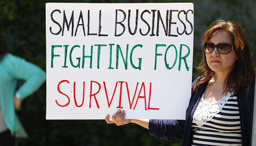"Rally goer holds up a ""Small Business fighting for survival"" sign"