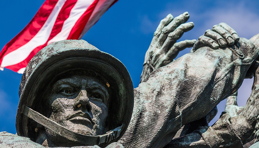 Close-up of one of a marine's face at the Marine Corps War Memorial.