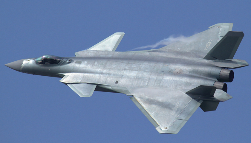 Flypast of the Chengdu J-20 during the opening of Airshow China in Zhuhai