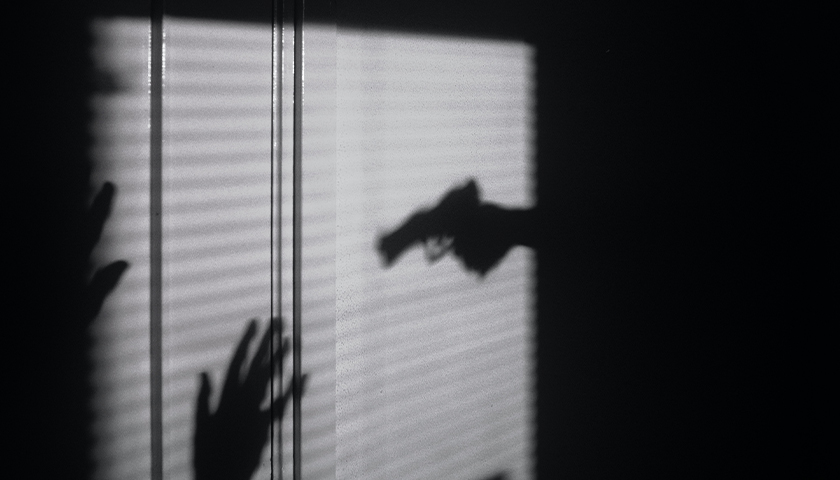 Silhouette of person holding gun up