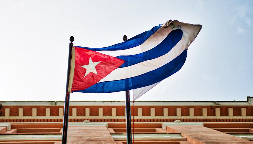 Cuban Flag on Pole